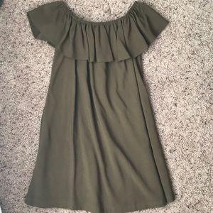 Forest Green Off-the-Shoulder Dress